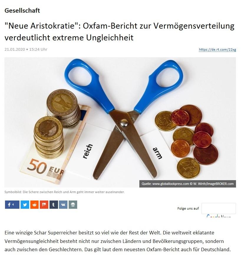 Gesellschaft - 'Neue Aristokratie': Oxfam-Bericht zur Vermögensverteilung verdeutlicht extreme Ungleichheit