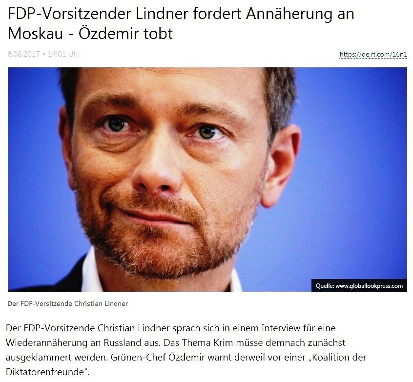 FDP-Vorsitzender Lindner fordert Annäherung an Moskau - Özdemir tobt