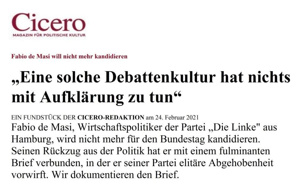 Fabio de Masi - Abschied und Neuanfang - https://www.cicero.de/innenpolitik/fabio-de-masi-linke-debattenkultur-aufklaerung - Aus dem Posteingang von Dr. Marianne Linke vom 25.02.2021