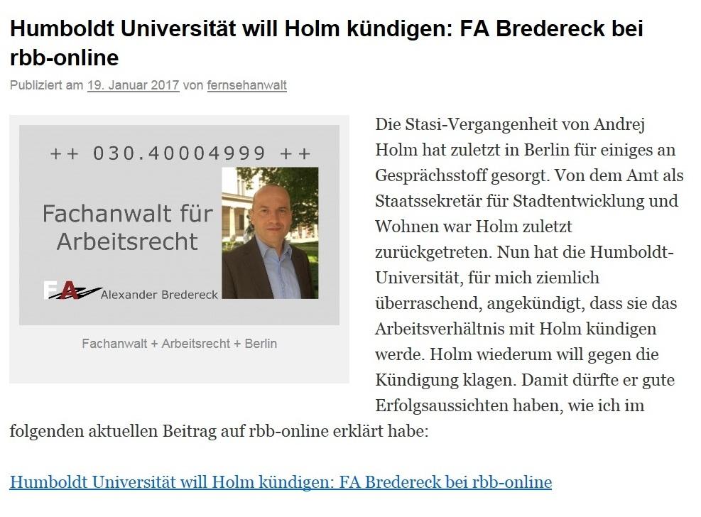 Humboldt Universität will Holm kündigen: FA Bredereck bei rbb-online
