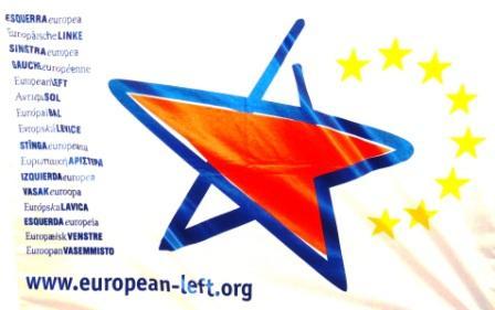 Fahne European LEFT - Fahne der Europäischen LINKEN. Foto: Eckart Kreitlow