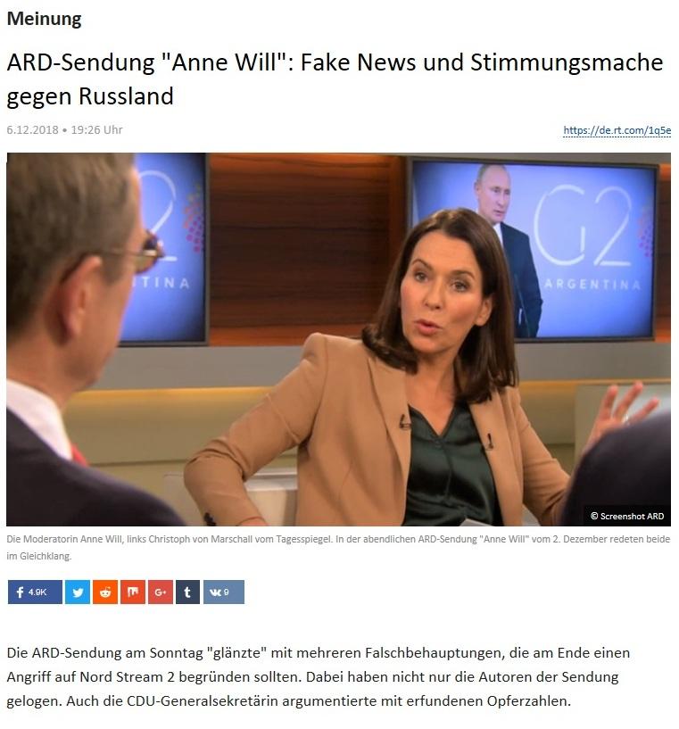 Meinung - ARD-Sendung 'Anne Will': Fake News und Stimmungsmache gegen Russland