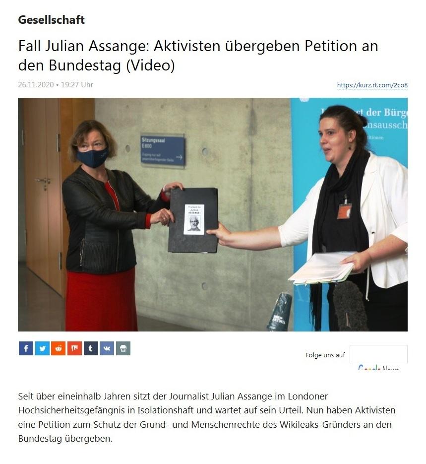 Gesellschaft - Fall Julian Assange: Aktivisten übergeben Petition an den Bundestag (Video) - RT Deutsch - 26.11.2020