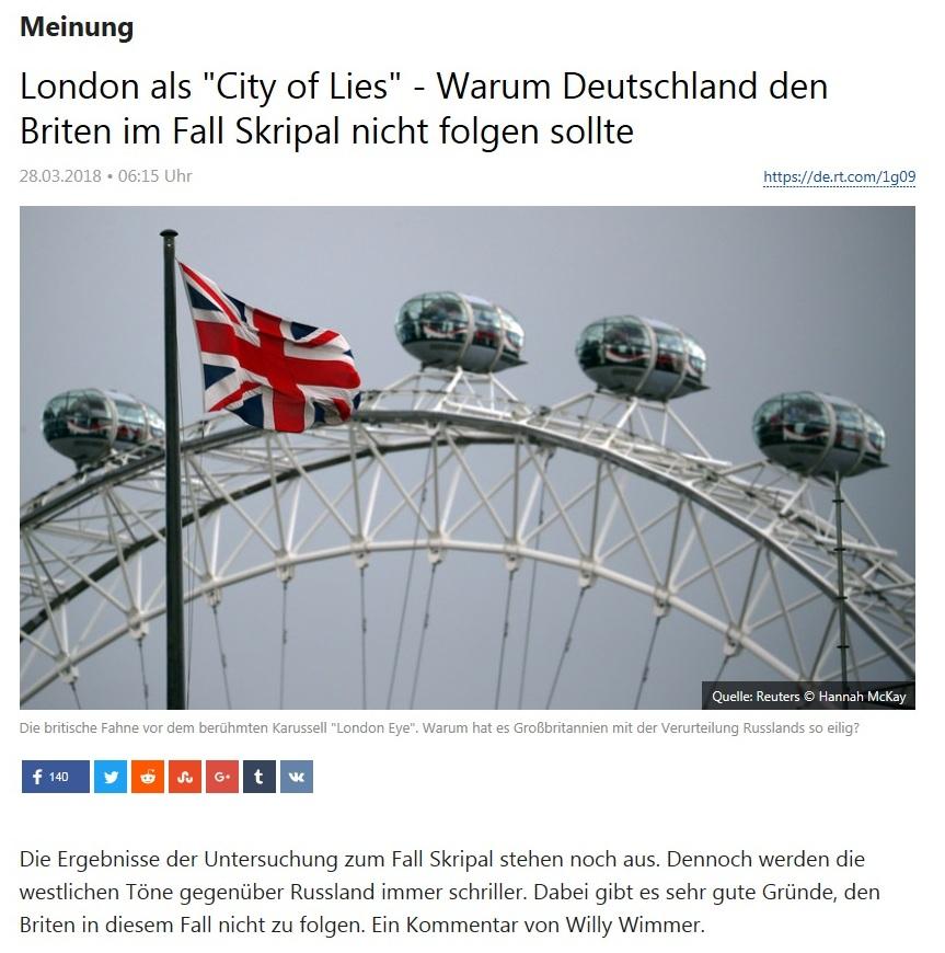 Meinung - London als 'City of Lies' - Warum Deutschland den Briten im Fall Skripal nicht folgen sollte