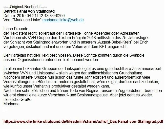 Aus dem Posteingang von Dr. Marianne Linke - Fanal von Stalingrad - Gute Nachbarschaft zu Russland - Wachhalten der Erinnerung - PDF