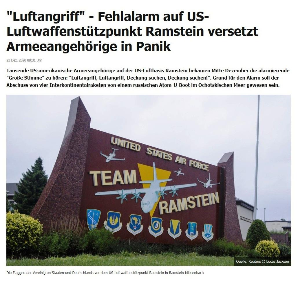 'Luftangriff' - Fehlalarm auf US-Luftwaffenstützpunkt Ramstein versetzt Armeeangehörige in Panik - RT DE - 23 Dez. 2020 08:31 Uhr