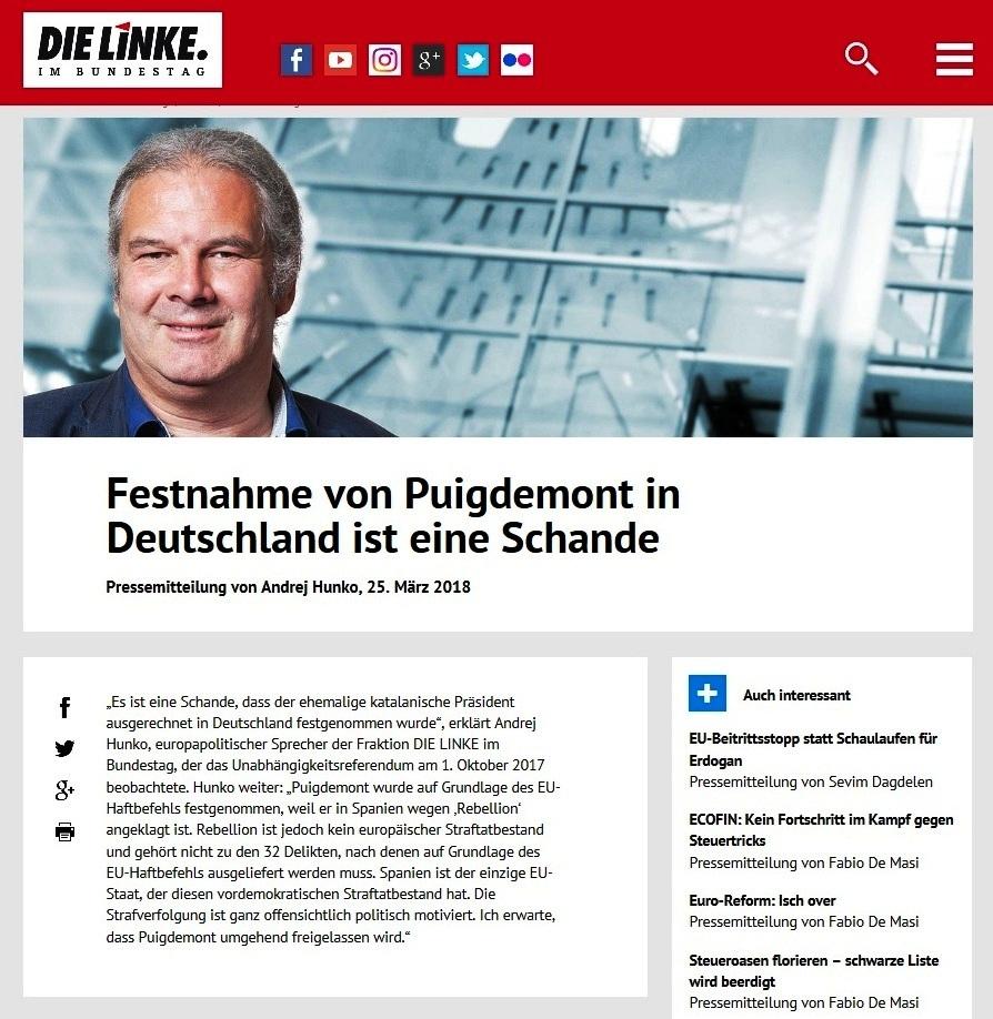 Festnahme von Puigdemont in Deutschland ist eine Schande -  Pressemitteilung von Andrej Hunko,  25. März 2018