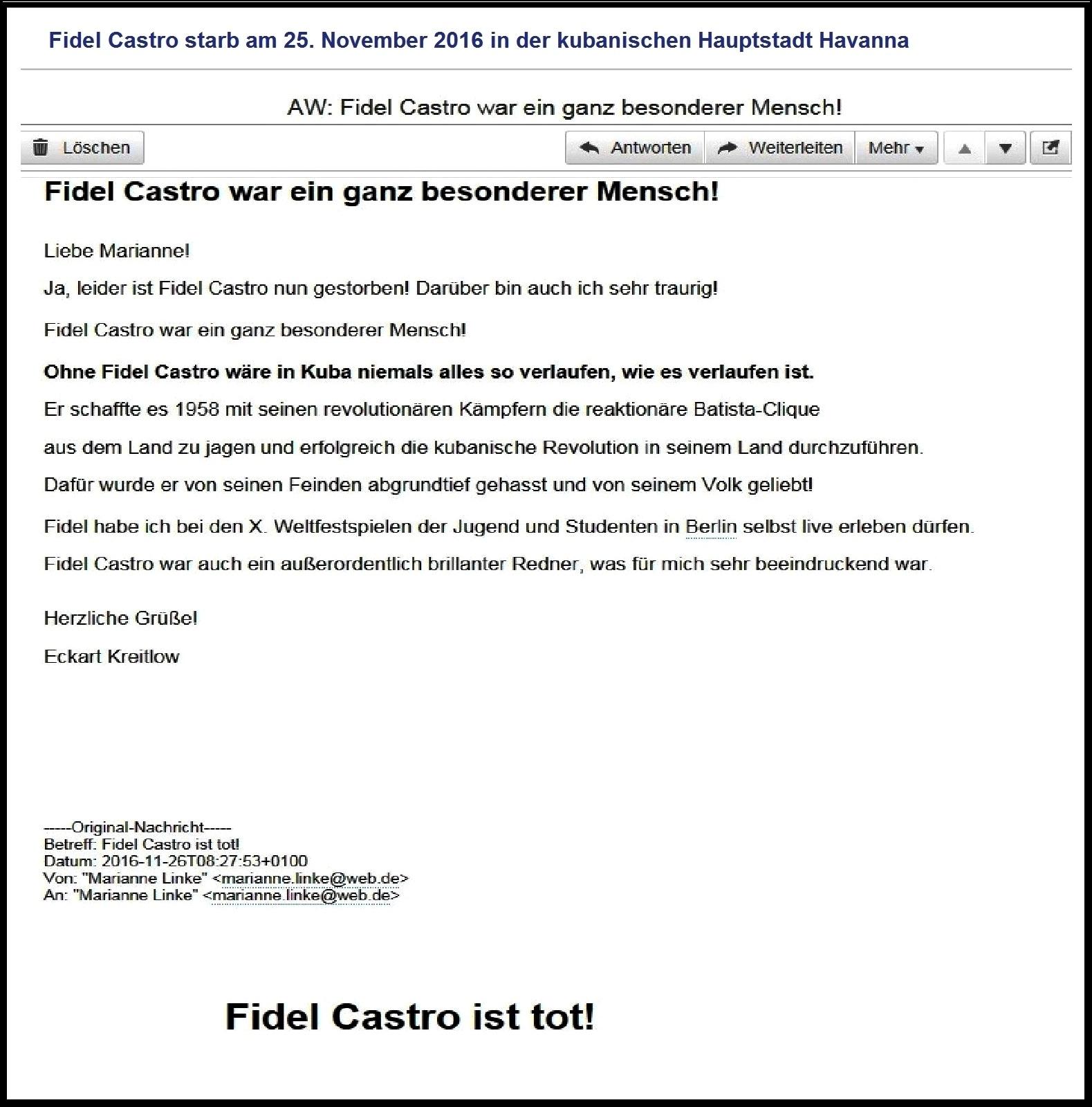 Fidel Castro starb am 25. November 2016 in der kubanischen Hauptstadt Havanna. Fidel Castro war ein ganz besonderer Mensch. Er wurde von seinen Freunden geliebt und von seinen Feinden abgrundtief gehasst.