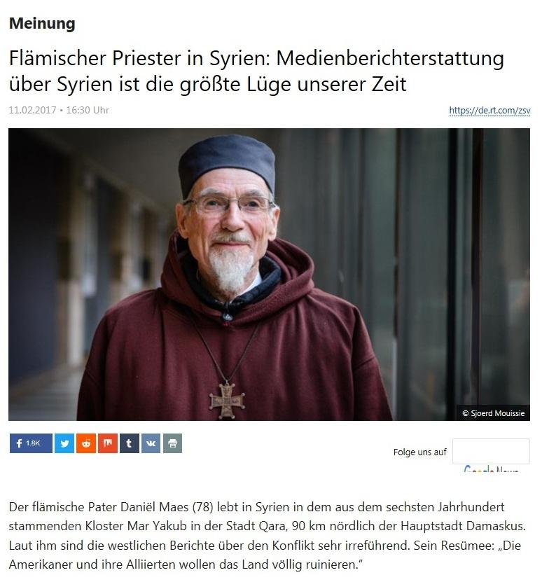 Meinung - Flämischer Priester in Syrien: Medienberichterstattung über Syrien ist die größte Lüge unserer Zeit  - RT Deutsch