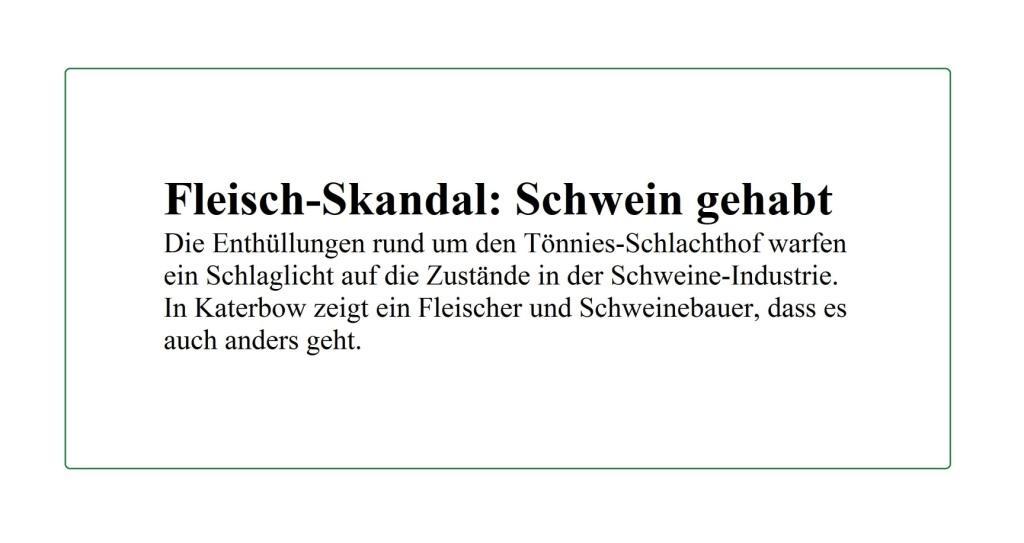Fleisch-Skandal: Schwein gehabt - Berliner Zeitung - 16.08.2020