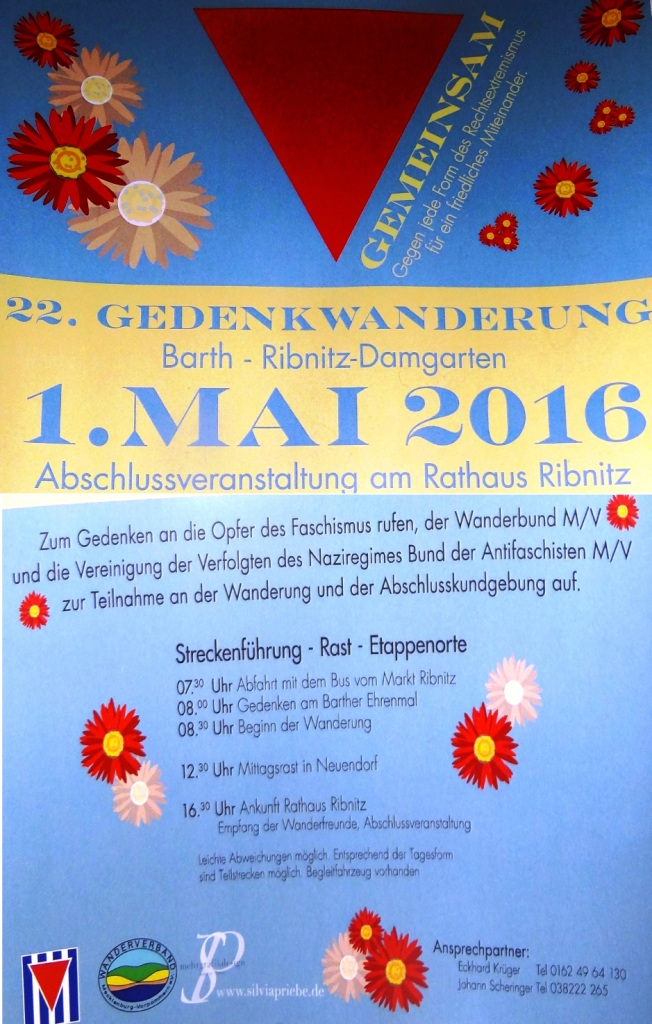 Flyer 22. Gedenkwanderung Barth  –  Ribnitz-Damgarten am 1.Mai 2016 Gedenken in Barth am Ehrenmal und Abschlussveranstaltung am Rathaus Ribnitz Foto: Eckart Kreitlow