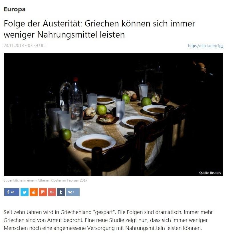 Europa - Folge der Austerität: Griechen können sich immer weniger Nahrungsmittel leisten