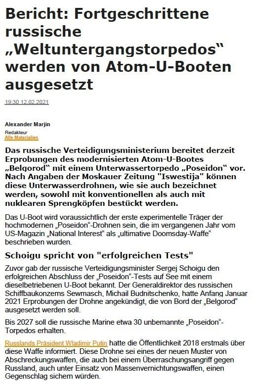 Aus dem Posteingang von Siegfried Dienel vom 19.02.2021 - Bericht - Fortgeschrittene russische 'Weltuntergangstorpedos' werden von Atom-U-Booten ausgesetzt - von Alexander Marjin, Redakteur - 12.02.2021 19:30 Uhr - Seite 1 von 2 Seiten