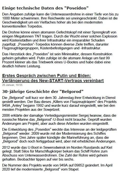 Aus dem Posteingang von Siegfried Dienel vom 19.02.2021 - Bericht - Fortgeschrittene russische 'Weltuntergangstorpedos' werden von Atom-U-Booten ausgesetzt - von Alexander Marjin, Redakteur - 12.02.2021 19:30 Uhr - Seite 2 von 2 Seiten