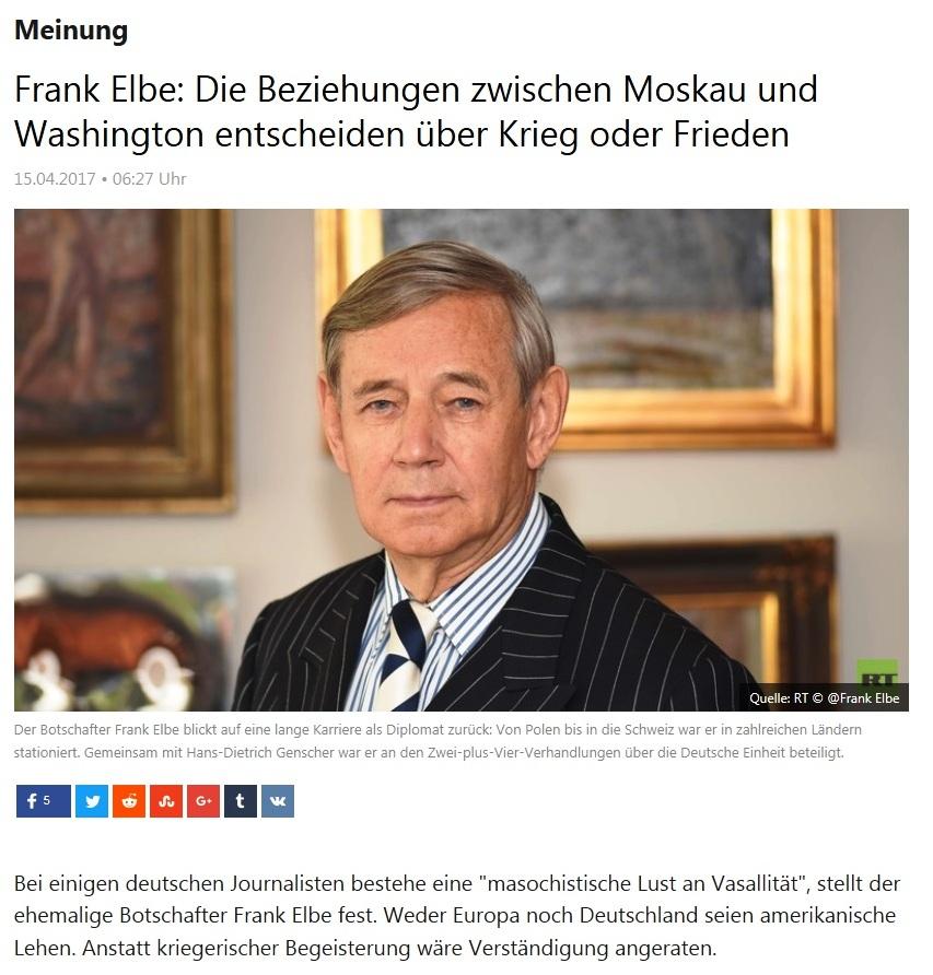 Frank Elbe: Die Beziehungen zwischen Moskau und Washington entscheiden über Krieg oder Frieden