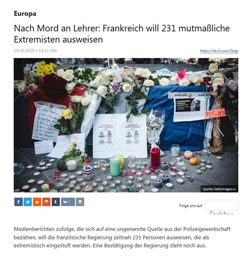 Europa - Nach Mord an Lehrer: Frankreich will 231 mutmaßliche Extremisten ausweisen - RT Deutsch - 19.10.2020
