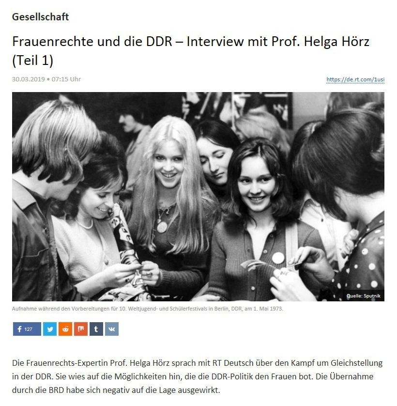 Gesellschaft -  Frauenrechte und die DDR – Interview mit Prof. Helga Hörz (Teil 1)