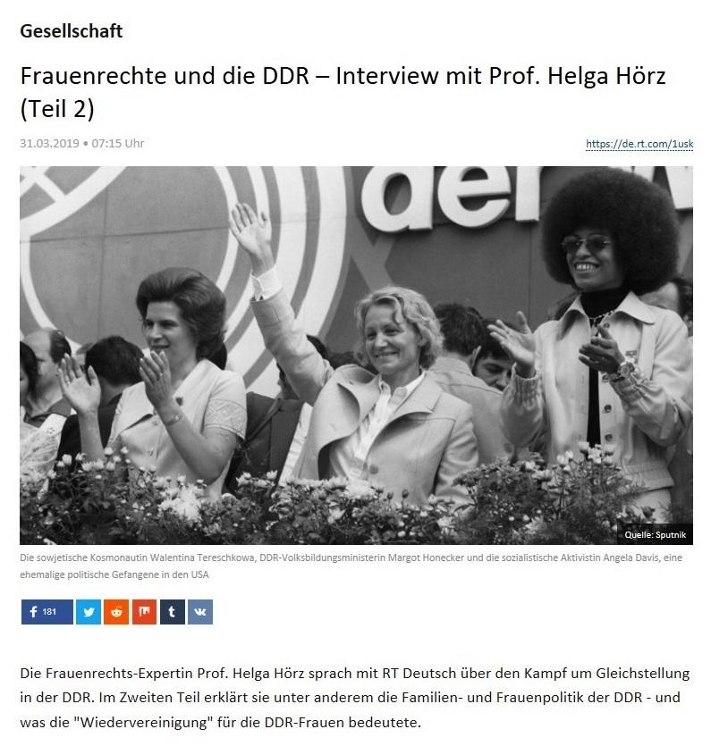 Gesellschaft -  Frauenrechte und die DDR – Interview mit Prof. Helga Hörz (Teil 2)