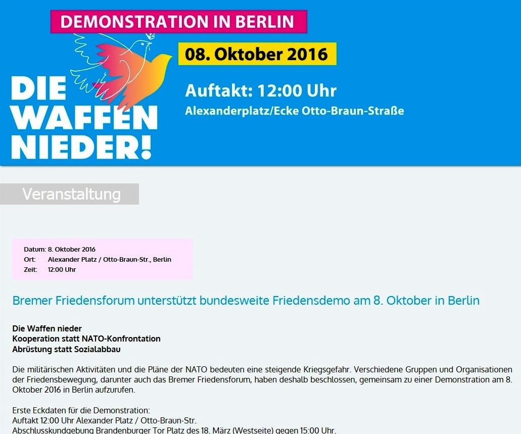 Bremer Friedensforum unterst�tzt bundesweite Friedendemonstration am 8. Oktober 2016 in Berlin