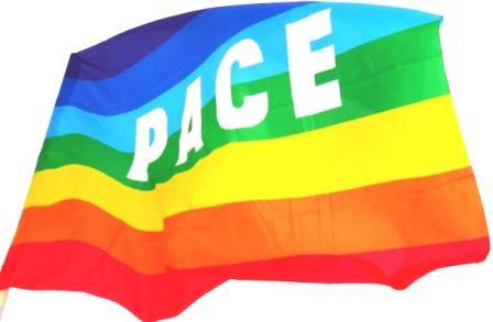Regenbogenfahne PACE der internationalen Friedensbewegung. Foto: Eckart Kreitlow