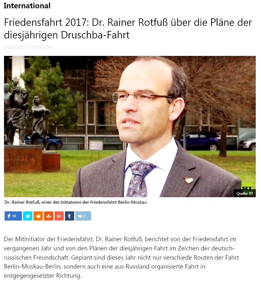 Friedensfahrt 2017: Dr. Rainer Rotfuß über die Pläne der diesjährigen Druschba-Fahrt
