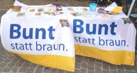 Das 10. Internationale Friedensfest  am 3.August 2013 in Graal-Müritz stand unter dem Motto Für Frieden und Toleranz - gegen RECHTS. Mit dabei war auch das überparteiliche Aktionsbündnis Bunt statt braun e. V. Foto: Eckart Kreitlow