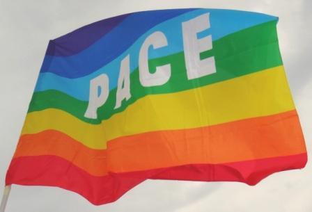 Die Regenbogenfahne PACE der internationalen Friedensbewegung wehte auch in Ostseebad Graal-Müritz in Mecklenburg-Vorpommern beim 10.Internationalen Friedensfest am 3.August 2013. Foto: Eckart Kreitlow