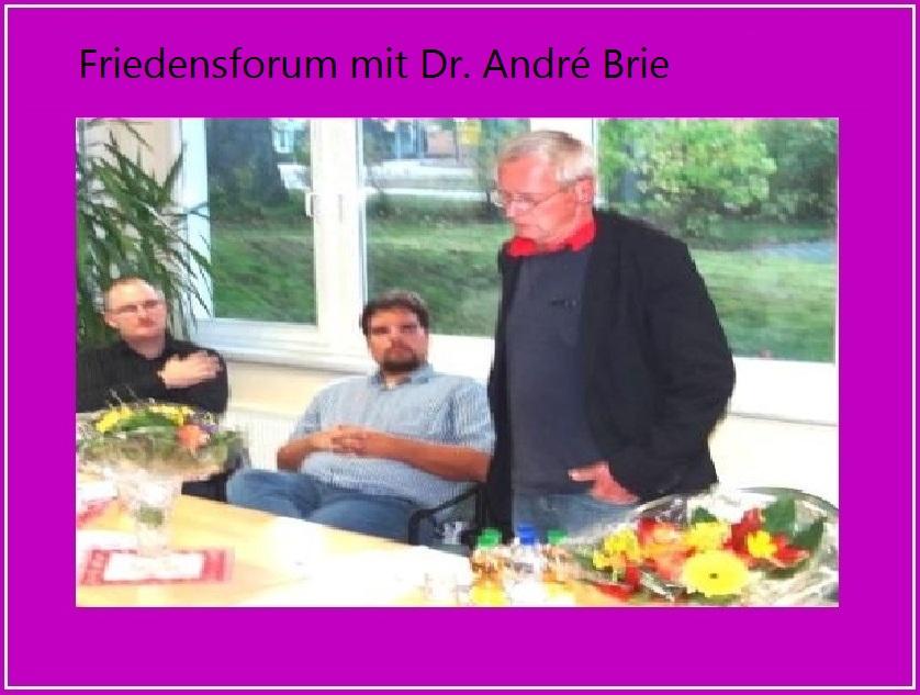 Friedensforum mit Dr. Andre Brie, Mitglied des Landtages von Mecklenburg-Vorpommern, Sprecher der Fraktion DIE LINKE für Europa- und Verbraucherschutzpolitik und Mitglied des Lenkungsausschusses des Petersburger Dialoges zwischen Russland und Deutschland, am 6.Oktober 2014 in Ribnitz-Damgarten. Foto: Eckart Kreitlow