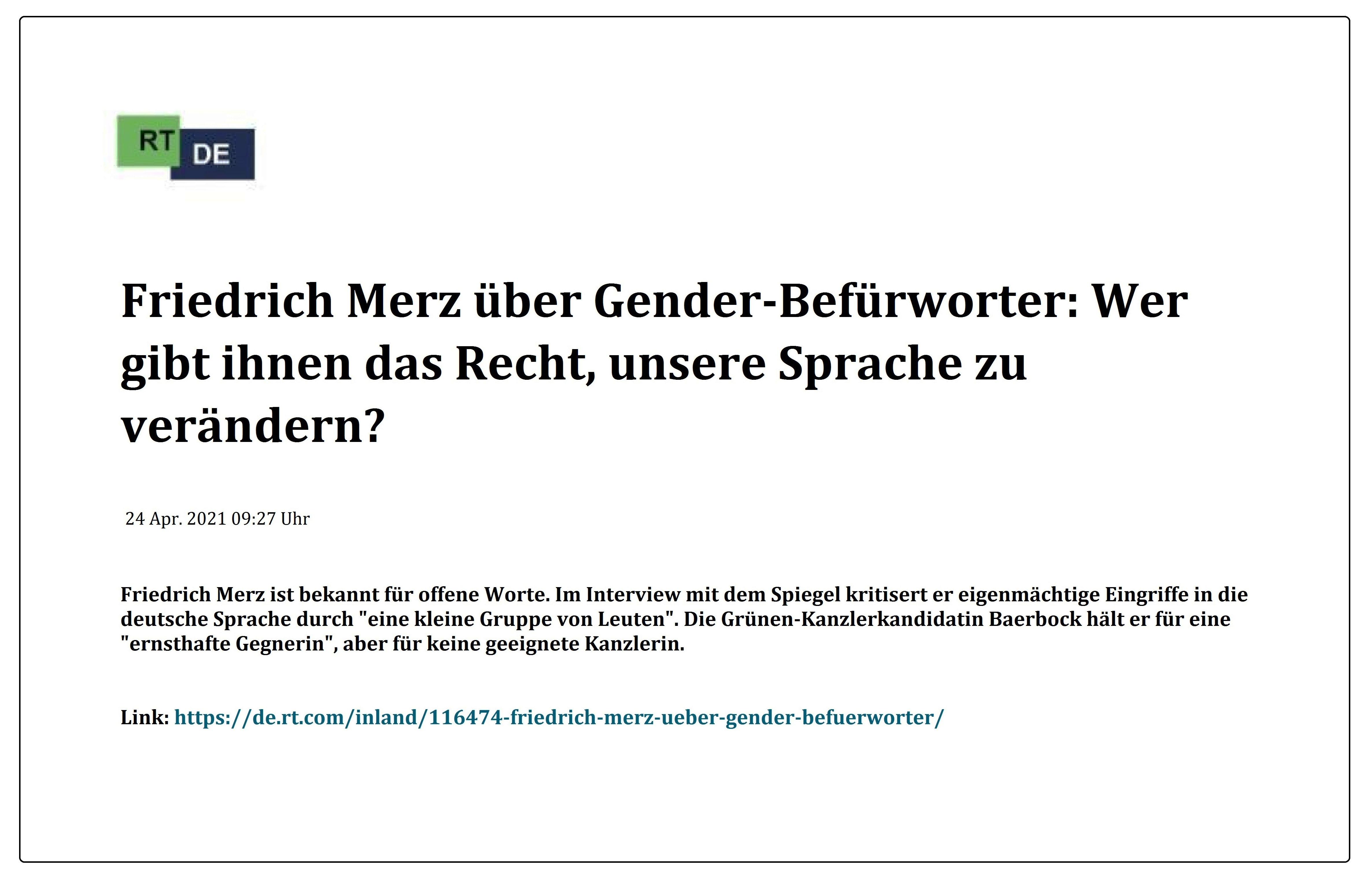 Friedrich Merz über Gender-Befürworter: Wer gibt ihnen das Recht, unsere Sprache zu verändern? -  RT DE -  24 Apr. 2021 09:27 Uhr