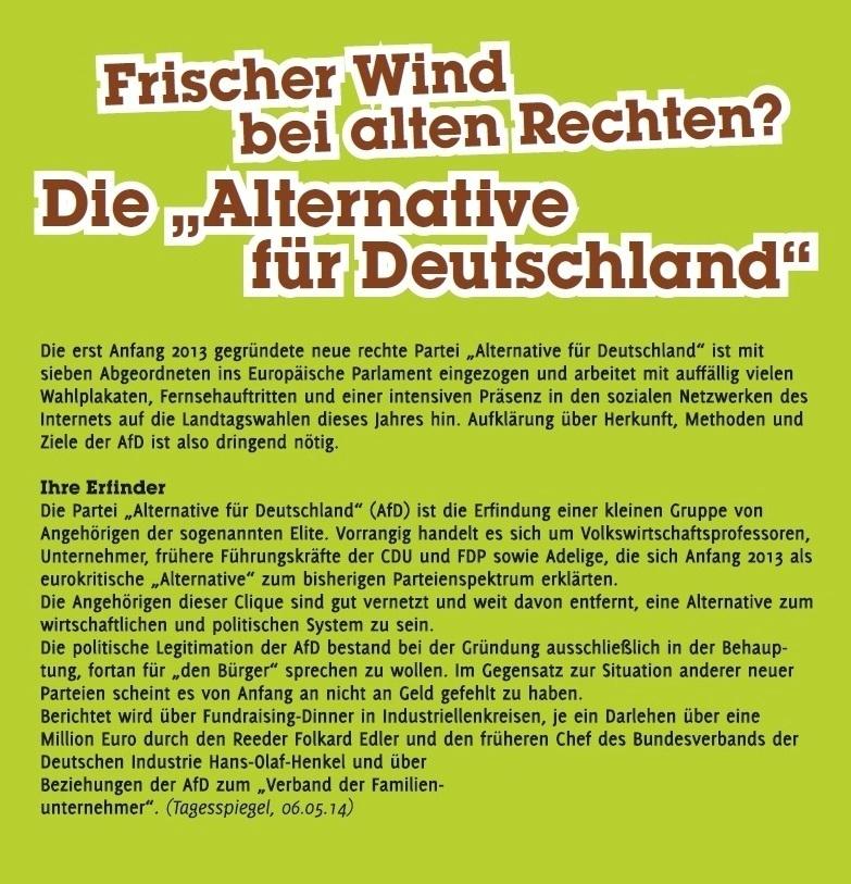 Frischer Wind bei alten Rechten? Die 'Alternative für Deutschland' - Flyer - VVN BdA - http://vvn-bda.de/wp-content/uploads/2014/07/W_Flyer_VVN_AfD_0714.pdf - PDF