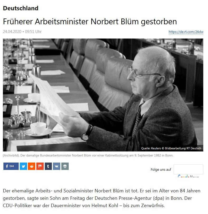 Deutschland - Früherer Arbeitsminister Norbert Blüm gestorben - RT Deutsch -  24.04.2020