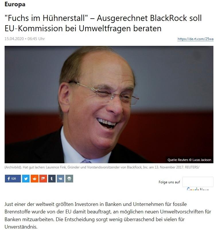 Europa - 'Fuchs im Hühnerstall' – Ausgerechnet BlackRock soll EU-Kommission bei Umweltfragen beraten  - RT Deutsch - 15.04.2020
