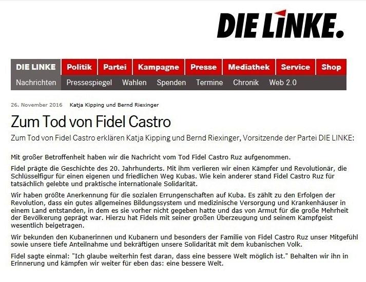Katja Kipping und Bernd Riexinger, Vorsitzende der Partei DIE LINKE, zum Tod von Fidel Castro