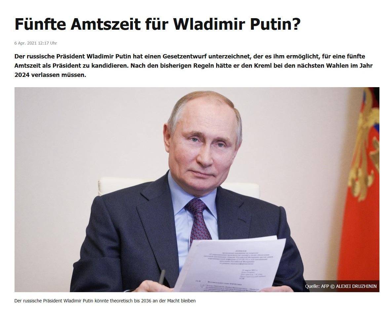 Fünfte Amtszeit für Wladimir Putin? -  RT DE -  6 Apr. 2021 12:17 Uhr