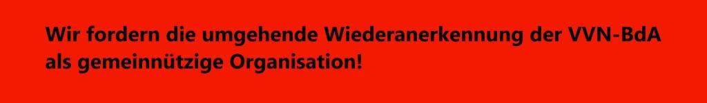 DIE LINKE - Wir fordern die umgehende Wiederanerkennung der VVN-BdA als gemeinnützige Organisation!
