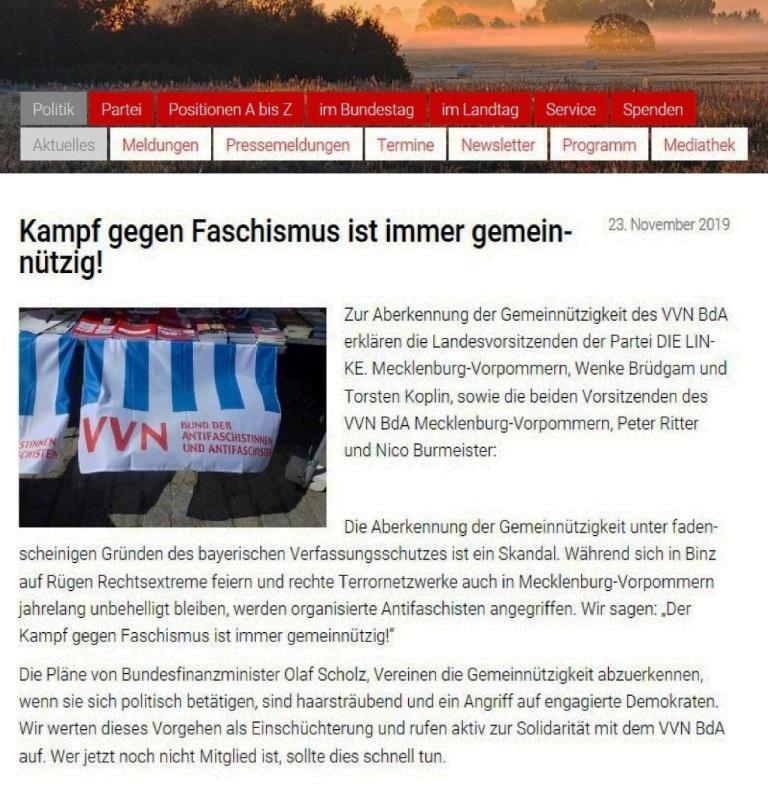 DIE LINKE Mecklenburg-Vorpommern - Wir fordern die umgehende Wiederanerkennung der VVN-BdA als gemeinnützige Organisation!