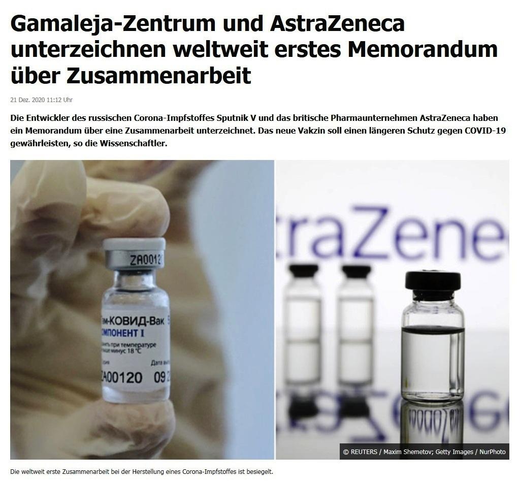 Gamaleja-Zentrum und AstraZeneca unterzeichnen weltweit erstes Memorandum über Zusammenarbeit - RT DE - - 21 Dez. 2020 11:12 Uhr