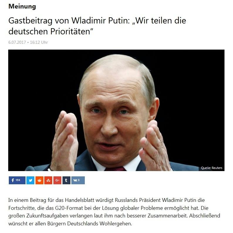 Gastbeitrag von Wladimir Putin: Wir teilen die deutschen Prioritäten
