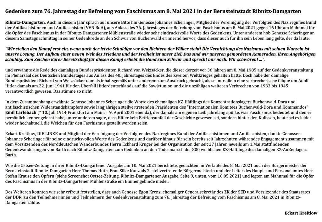 Ribnitz-Damgarten - 8. Mai 2021 - Auch in diesem Jahr sprach auf unsere Bitte hin Genosse Johannes Scheringer, Mitglied der Vereinigung der Verfolgten des Naziregimes Bund der Antifaschistinnen und Antifaschisten (VVN BdA), aus Anlass des 76. Jahrestages der Befreiung vom Faschismus am 8. Mai 2021 gegen 16 Uhr am Mahnmal für die Opfer des Faschismus in der Ribnitz-Damgartener Mühlenstraße wieder sehr eindrucksvolle Worte des Gedenkens. - Ostsee-Rundschau.de - Text und Fotos: Eckart Kreitlow