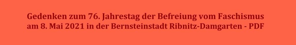 Gedenken zum 76. Jahrestag der Befreiung vom Faschismus am 8. Mai 2021 in der Bernsteinstadt Ribnitz-Damgarten - PDF