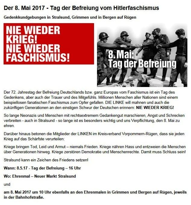 Aufruf zum Gedenken an den Tag der Befreiung - Wann: 8.5.17 - Tag der Befreiung – 16 Uhr - Wo: Ehrenmal – Neuer Markt Stralsund