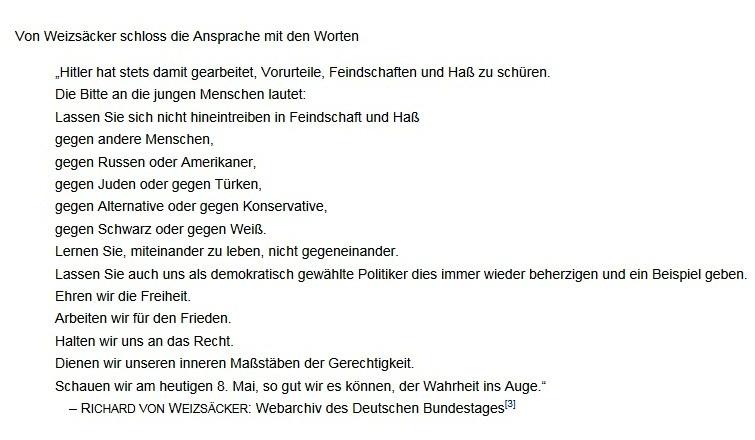 Gedenkveranstaltung im Plenarsaal des Deutschen Bundestages zum 40. Jahrestag des Endes des Zweiten Weltkrieges in Europa - Rede des Bundespräsidenten Richard von Weizsäcker - Bonn, 8. Mai 1985
