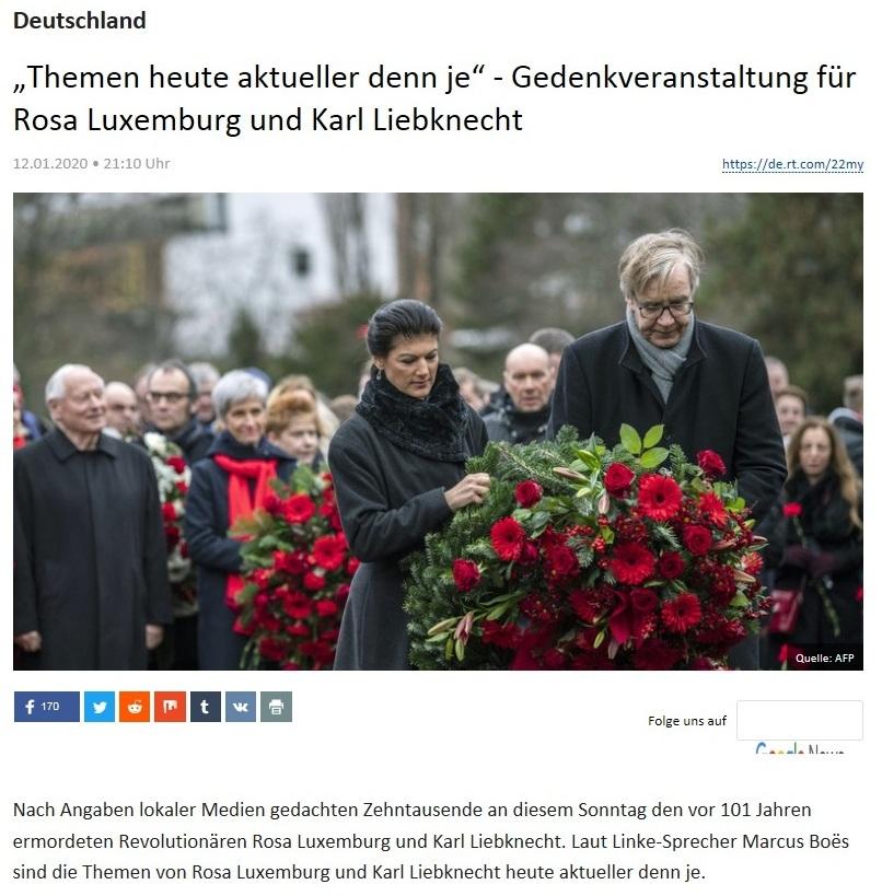 Deutschland - 'Themen heute aktueller denn je' - Gedenkveranstaltung für Rosa Luxemburg und Karl Liebknecht