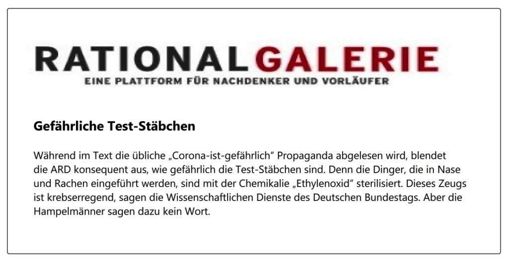 Gefährliche Test-Stäbchen - Aus: Hampel-Schau - Kurze Regierungs-Strippen für die Redaktion - Von Uli Gellermann - Rationalgalerie - eine Plattform für Nachdenker und Vorläufer - 31.03.2021