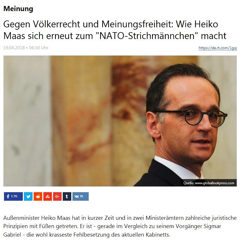 Meinung - Gegen Völkerrecht und Meinungsfreiheit: Wie Heiko Maas sich erneut zum 'NATO-Strichmännchen' macht