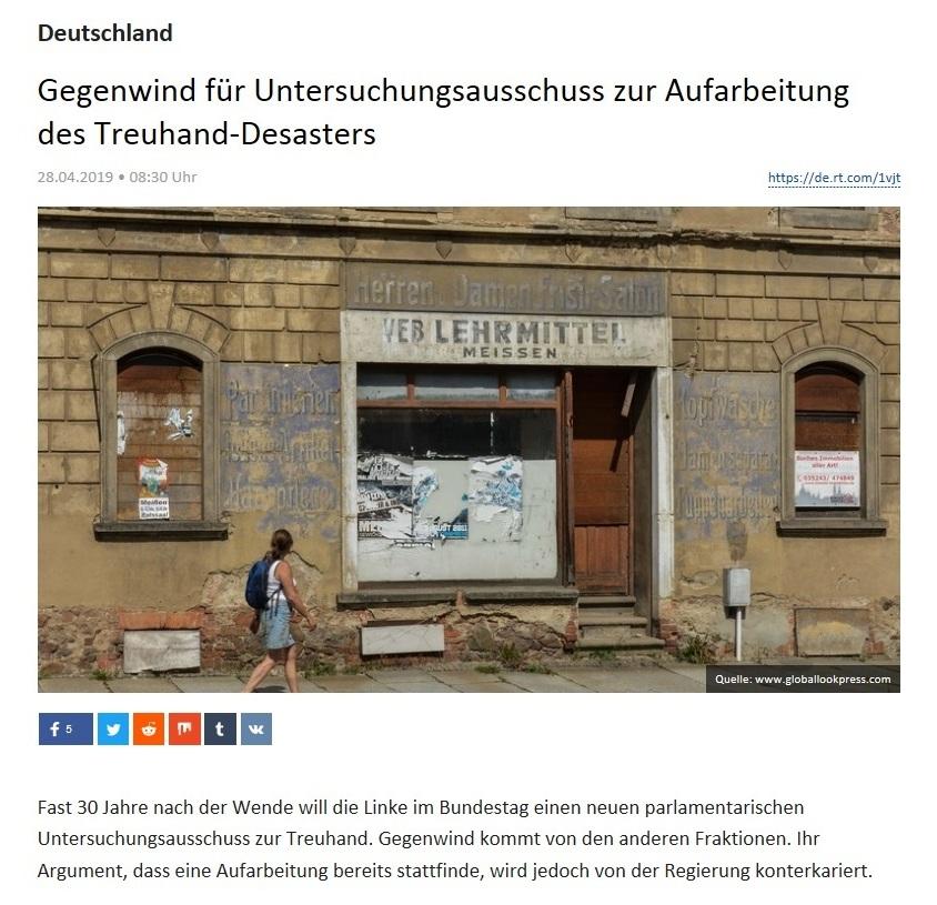 Deutschland - Gegenwind für Untersuchungsausschuss zur Aufarbeitung des Treuhand-Desasters