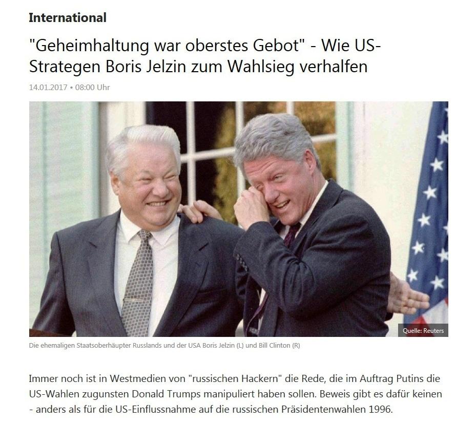 Geheimhaltung war oberstes Gebot - Wie US-Strategen Boris Jelzin zum Wahlsieg verhalfen