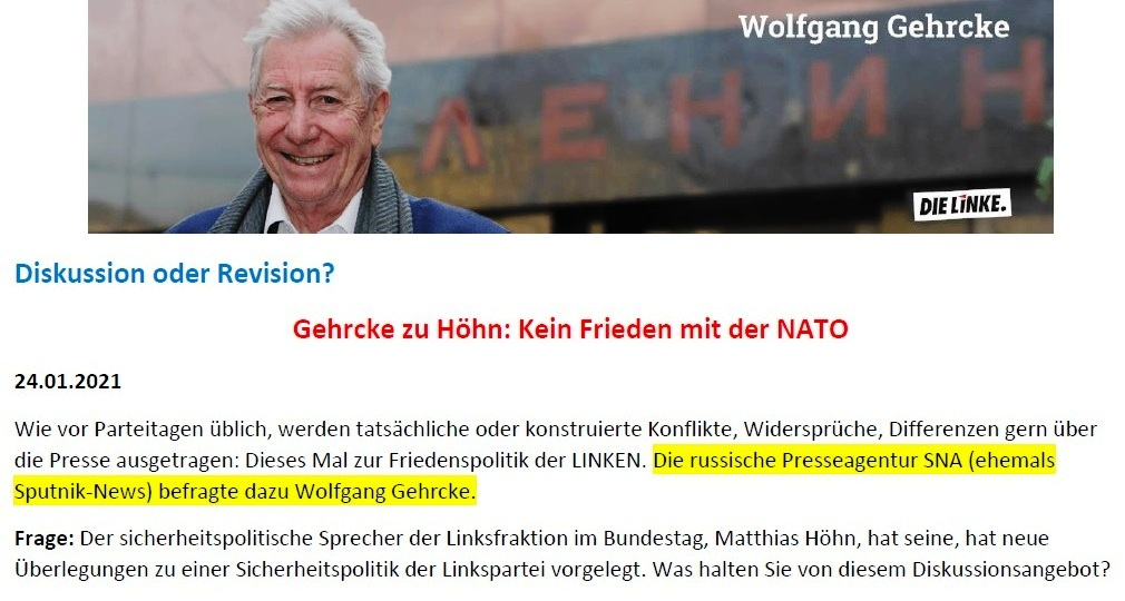 Gehrcke zu Höhn: Kein Frieden mit der NATO! - Interview vom 24.01.2021 - www.wolfgang-gehrcke.de - Aus dem Posteingang von Siegfried Dienel vom 25.01.2021 - Abschnitt 1 von 5 Abschnitten