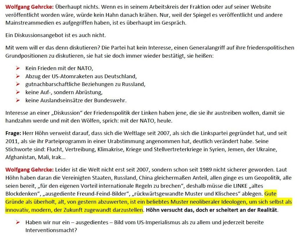 Gehrcke zu Höhn: Kein Frieden mit der NATO! - Interview vom 24.01.2021 - www.wolfgang-gehrcke.de - Aus dem Posteingang von Siegfried Dienel vom 25.01.2021 - Abschnitt 2 von 5 Abschnitten