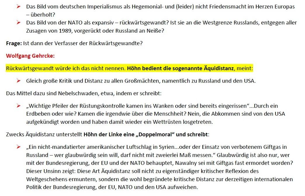 Gehrcke zu Höhn: Kein Frieden mit der NATO! - Interview vom 24.01.2021 - www.wolfgang-gehrcke.de - Aus dem Posteingang von Siegfried Dienel vom 25.01.2021 - Abschnitt 3 von 5 Abschnitten